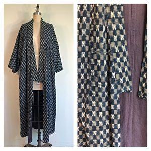 Vintage indigo kimono style jacket - one size
